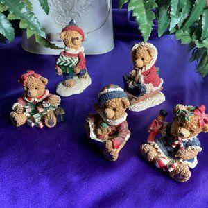 📌 Sortiment of 5 Cute Christmas Bear Figurines